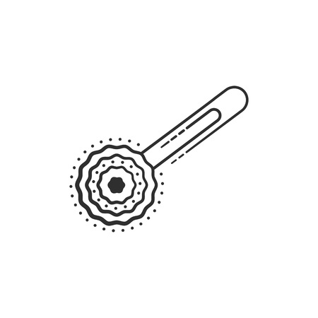 Pom Pom Paperclip, Bookmark. Lineart vector icon Illustration