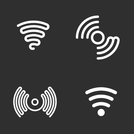 Set of wifi black vector icons.