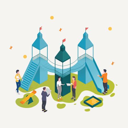 Teamarbeit zusammen. Vektorisometrischer Spielplatz. Geschäftskonzept