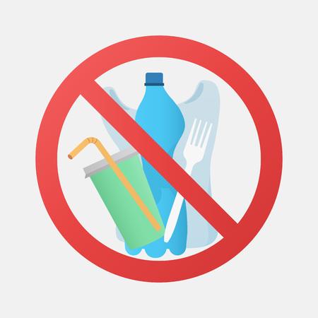 No plastic signal, protest against plastic garbage. Environmental concept.
