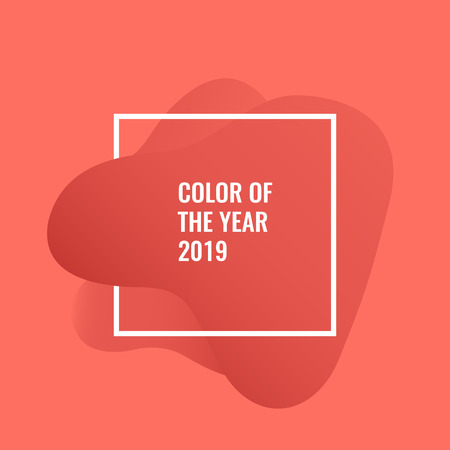 Living Coral - Color of the year 2019. Minimal abstract vector background.  イラスト・ベクター素材