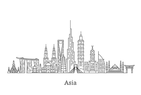 Asia skyline. Travel and tourism background.
