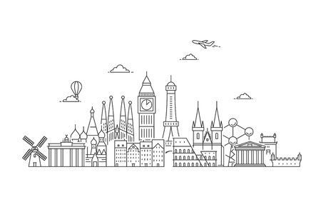 Famous Landmarks in Europe. Travel and tourism background. Vector flat illustration Illusztráció