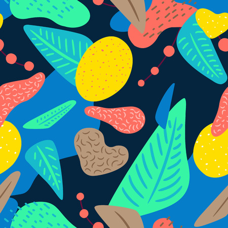 Liquid geometric background with a tropical motif. Seamless pattern. Ideal for web, card, poster, cover, invitation, brochure. Illustration