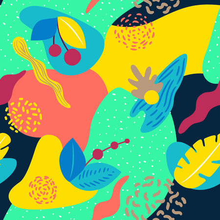 Liquid geometric background with a tropical motif. Seamless pattern. Ideal for web, card, poster, cover, invitation, brochure. Ilustração
