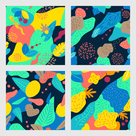 Abstract pattern with tropical leaves. Vector design for card, poster, flyer, brochure and cover.