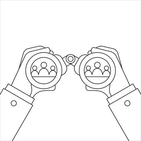 Hand and Binocular. Recruitment concept. Vector illustration Ilustrace