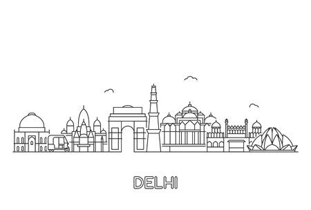 Orizzonte di Nuova Delhi. Illustrazione di arte di linea con edifici famosi.