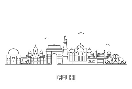 New Delhi skyline. Line art illustration with famous buildings.