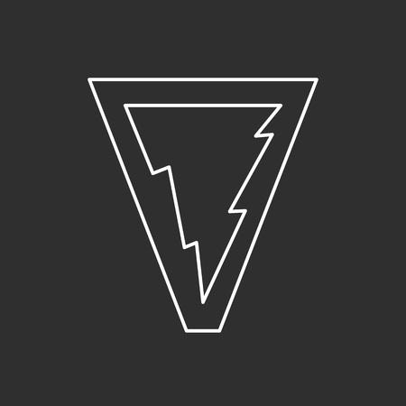 Lightning symbol. Line art illustration