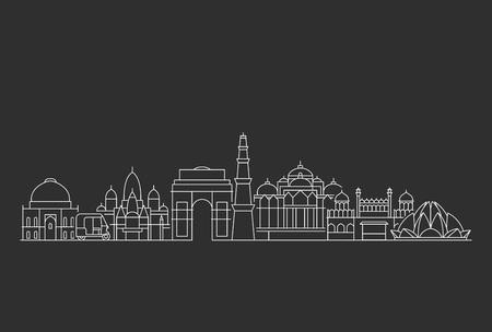 New Delhi skyline. Line art illustration with famous buildings. Ilustración de vector