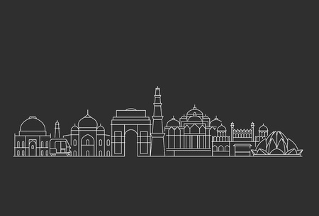 New Delhi skyline. Line art illustration with famous buildings. 스톡 콘텐츠 - 124426936