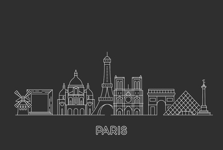 Paris vector skyline. Çizim