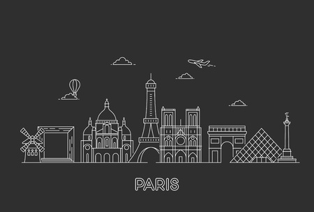Paris vector skyline. Stock Vector - 120175045