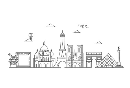 Paris vector skyline. Illustration