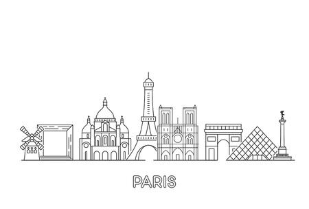 Horizonte de vector de París. Ilustración de vector