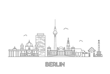 Berlin skyline. Travel and tourism background. Line art style