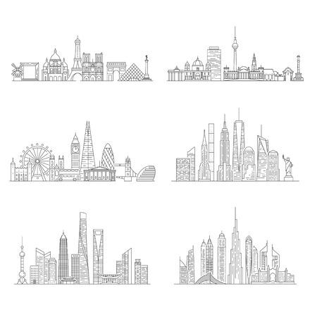 도시 스카이 라인을 설정합니다. 뉴욕, 런던, 파리, 베를린, 두바이, 상하이 벡터 일러스트 라인 아트 스타일