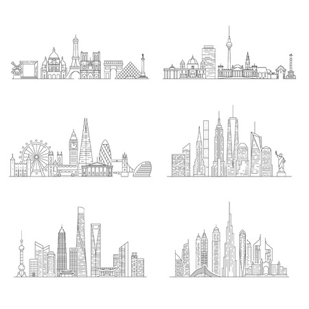 Cities skylines set. New York, London, Paris, Berlin, Dubai, Shanghai Vector illustration line art style Çizim