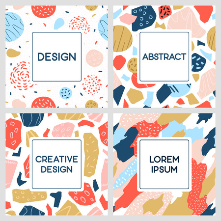A collection of colorful geometric patterns with text frame. Cute design for card, poster, flyer, brochure and cover.
