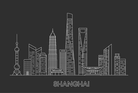 Horizonte de la ciudad de Shanghai. Ilustración de arte de línea vectorial Ilustración de vector