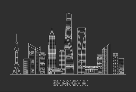 Shanghai city skyline. Vector line art illustration