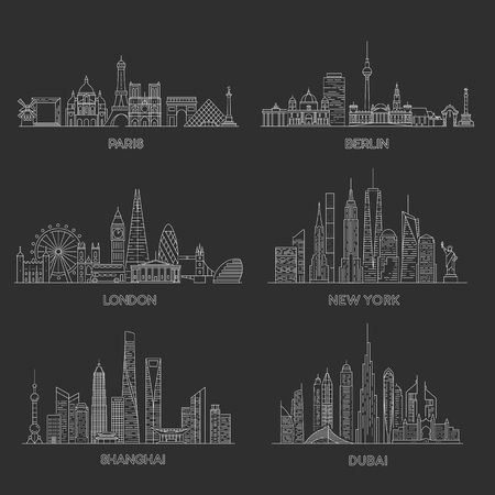 Cities skylines set. New York, London, Paris, Berlin, Dubai, Shanghai Vector illustration line art style Stock Illustratie