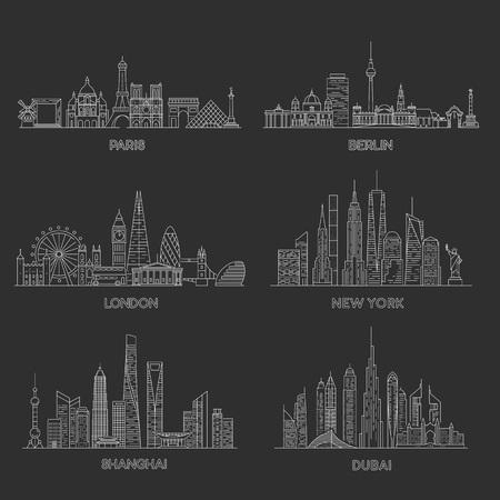 Zestaw panoramy miast. Nowy Jork, Londyn, Paryż, Berlin, Dubaj, Szanghaj Ilustracja wektorowa stylu sztuki linii