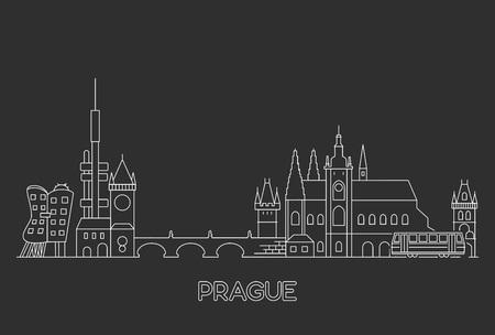 Skyline von Prag, Tschechien. Vektorgrafik