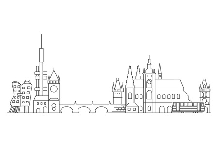 Prague skyline, Czech Republic. Stock Illustratie