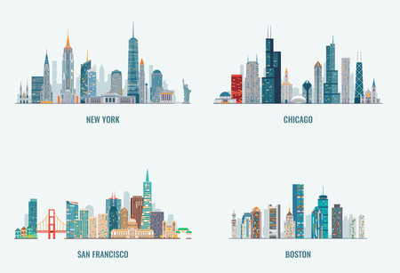 Ensemble d'horizons de villes des États-Unis. New York, Chicago, San Francisco, Boston. Silhouette détaillée des villes