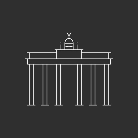 Brandenburg Gate in Berlin. Line art style vectore illustration