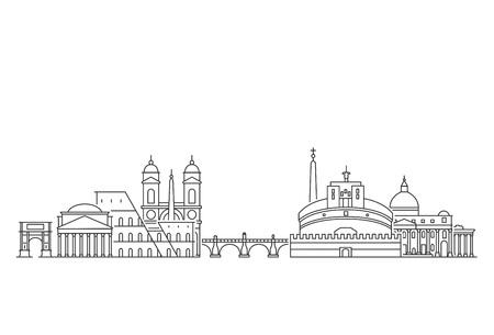 Rome skyline, Italy. Line art style vector illustration Illustration