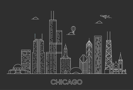 Linear Chicago City Skyline. USA. Vector illustration