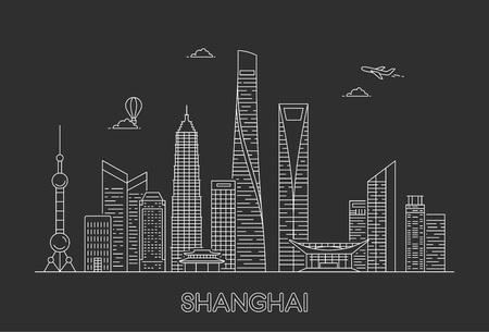 Horizonte de la ciudad de Shanghai. Ilustración de arte de línea vectorial