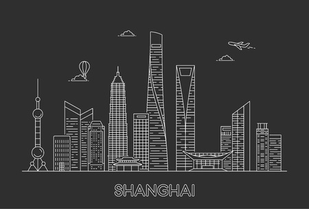 Shanghai city skyline. Vector line art illustration Фото со стока - 123237235