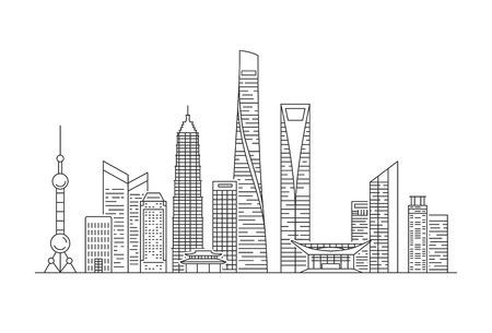Shanghai city skyline. Vector line art illustration
