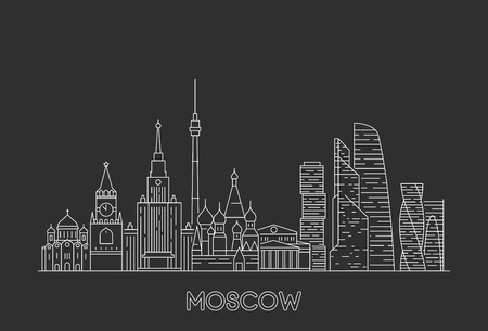 Moscow skyline, Russia. Line art style vector illustration