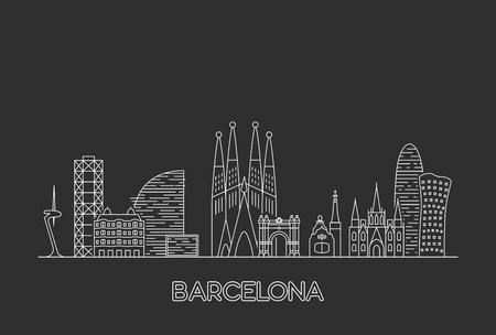 Barcelona city skyline. Line art style illustration Ilustrace