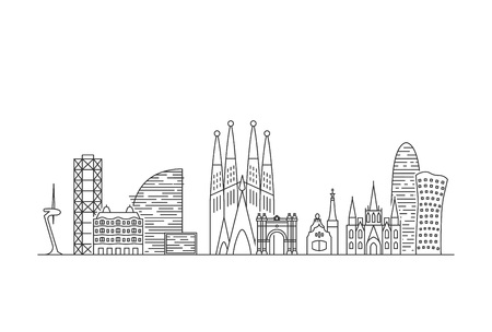 Orizzonte della città di Barcellona. Illustrazione di stile di arte di linea