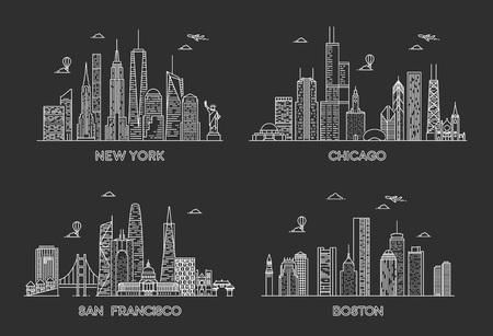 USA cities skylines set. New York, Chicago, San francisco, Boston. Detailed cities silhouette 版權商用圖片 - 124428587