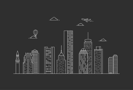 Boston city skyline. USA. Line art style illustration