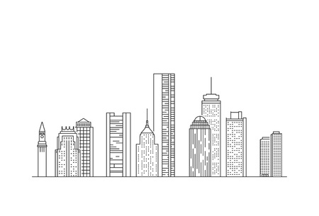 Boston city skyline. USA. Line art style illustration