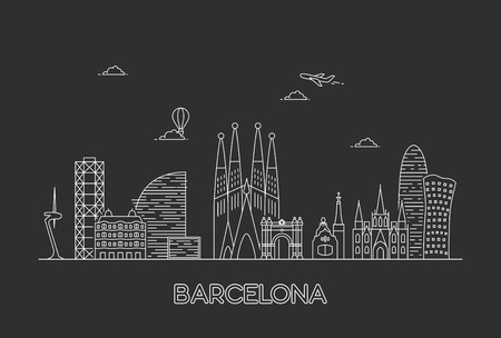 Barcelona city skyline. Line art style illustration Illustration