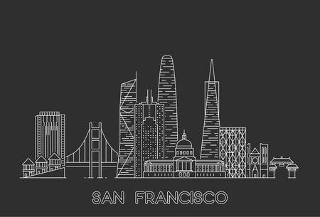 Horizonte de San Francisco, Estados Unidos. Ilustración de estilo de arte de línea