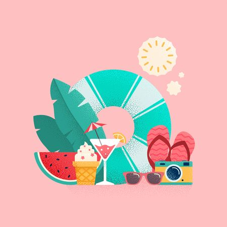 Summer time colorful banner design. Vector illustration.