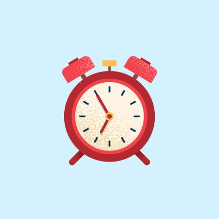 Alarm clock, wake-up time. Flat vector icon Illustration