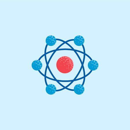 Atom icon, molecule illustration, chemistry science symbol