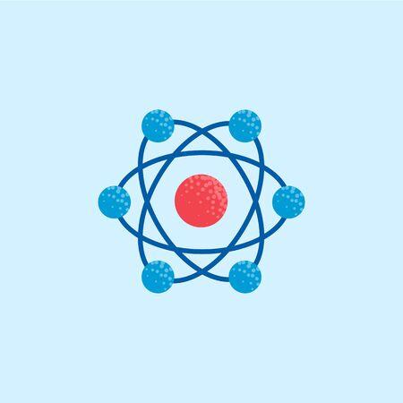 Atom icon, molecule illustration, chemistry science symbol