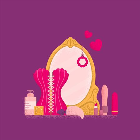Dressing table with mirror. Boudoir concept. Vector illustration